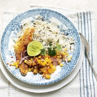 Spiced red snapper with apricot, chilli and charred sweetcorn salsa