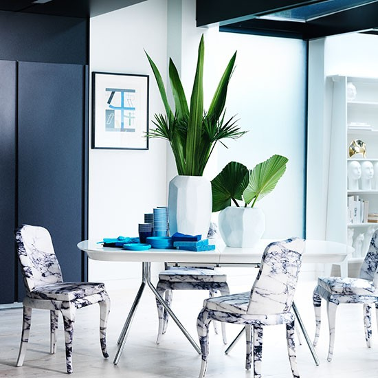 Blue Marble Effect Dining Room