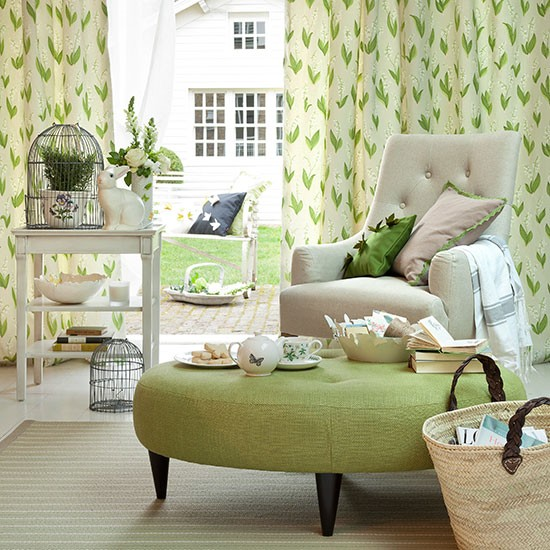 Cool Green Living Room Decorating With Country Colours