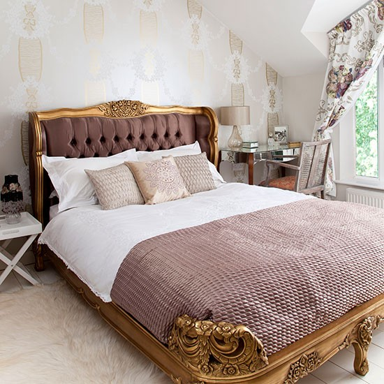 Gold and pink french style bedroom bedroom decorating - Pink white and gold bedroom ...