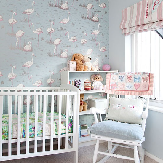 Blue and pink nursery children 39 s room decorating for Baby room decoration uk