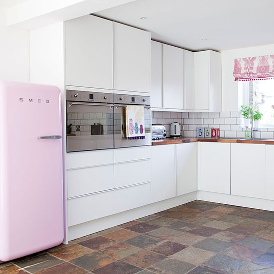White and pink kitchen kitchen decorating housetohome for Kitchen flooring options uk