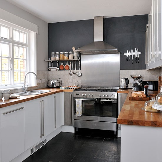 Kitchen Ideas Wooden Worktops: Black Kitchen With White Gloss Units