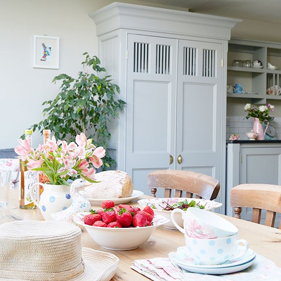 Pale grey kitchen diner with larder cupboard kitchen decorating - Country kitchen larder cupboard ...