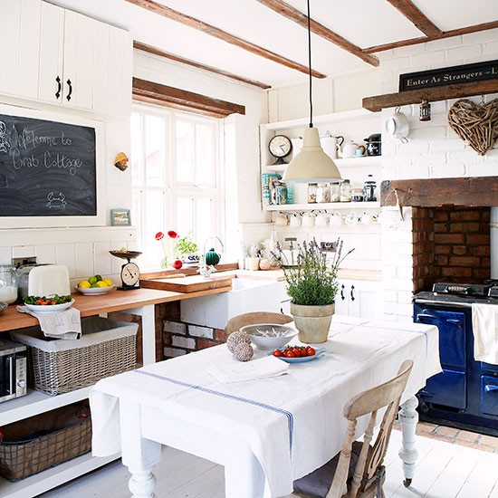 White Country Kitchen Diner With Blue Aga