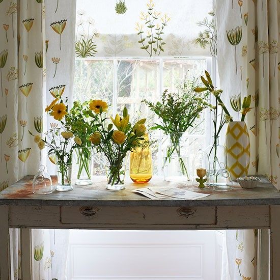 Yellow And Cream Hallway With Botanical Motifs