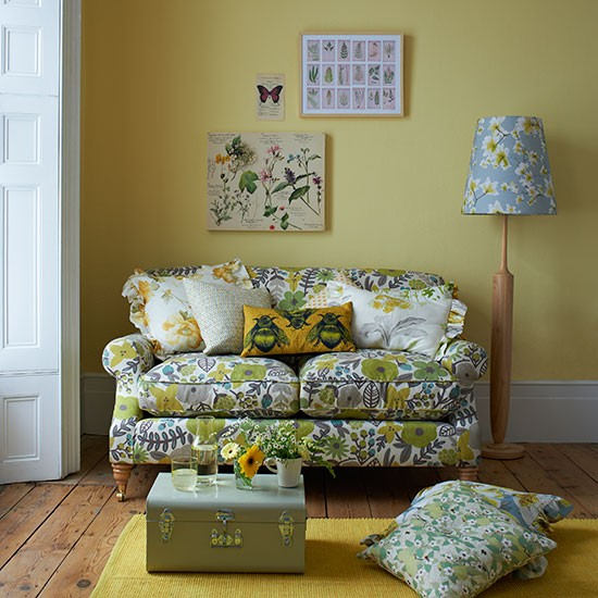 Yellow country style living room with floral sofa living Yellow green living room