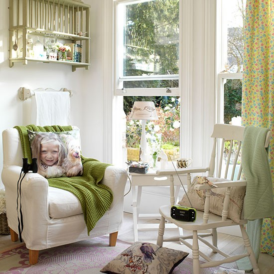 Laid Back White Country Living Room With Green Accessories