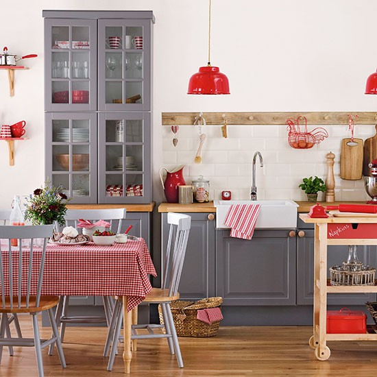 Grey And Red Shaker Style Kitchen