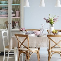 Vintage-style pastel dining room