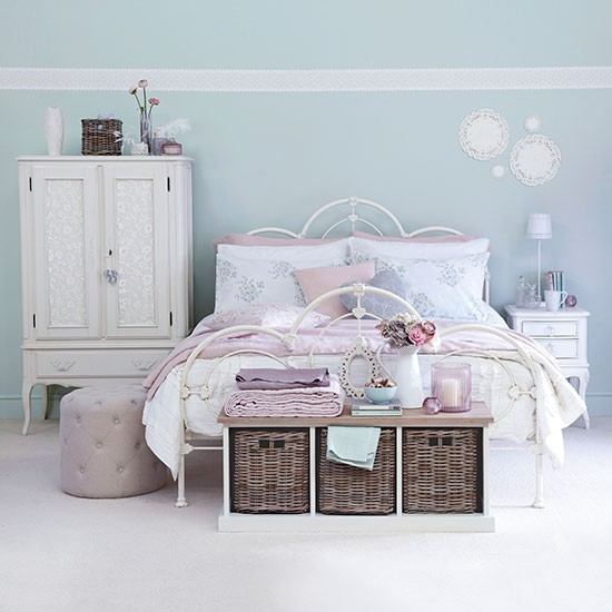 Pale blue and pink french style bedroom bedroom for Pink and blue bedroom