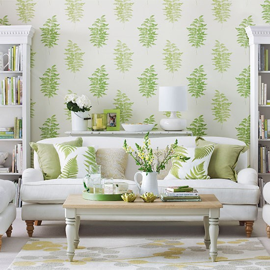 living room with green fern design wallpaper living room