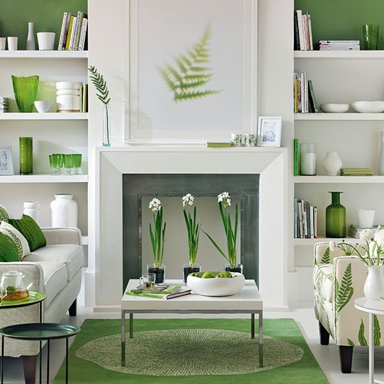 Green And White Living Room Decorating