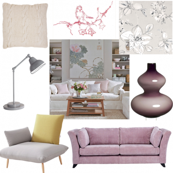 grey and pink living room moodboards
