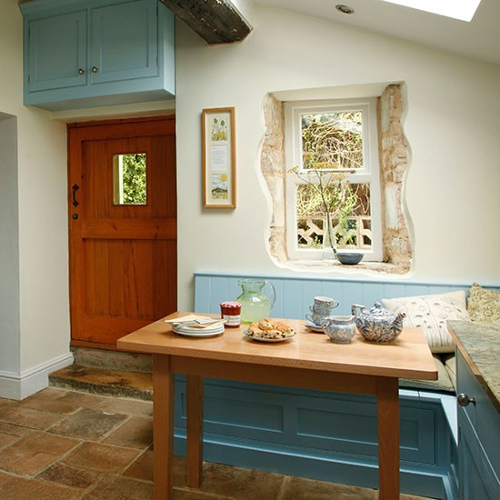 Blue And Cream Country Kitchen