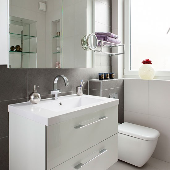 White bathroom with slate tiles bathroom decorating for Grey and white bathroom designs