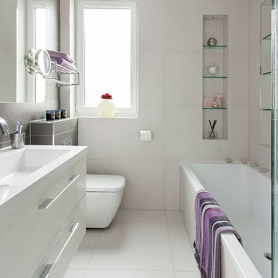 Small modern white bathroom bathroom decorating Small bathroom decorating ideas uk