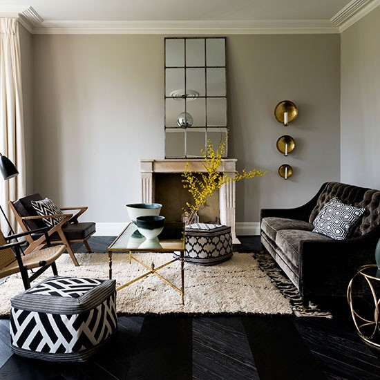 Black And White Living Room With Yellow Accents: Modern Living Room With Black And White Furniture