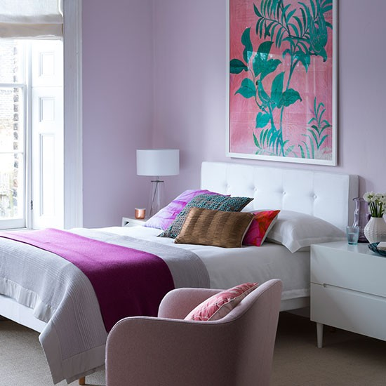 Pretty lilac bedroom with white furniture : Bedroom ...
