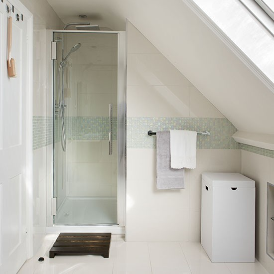 Attic shower room with mosaic tile stripe Tiny bathroom designs uk
