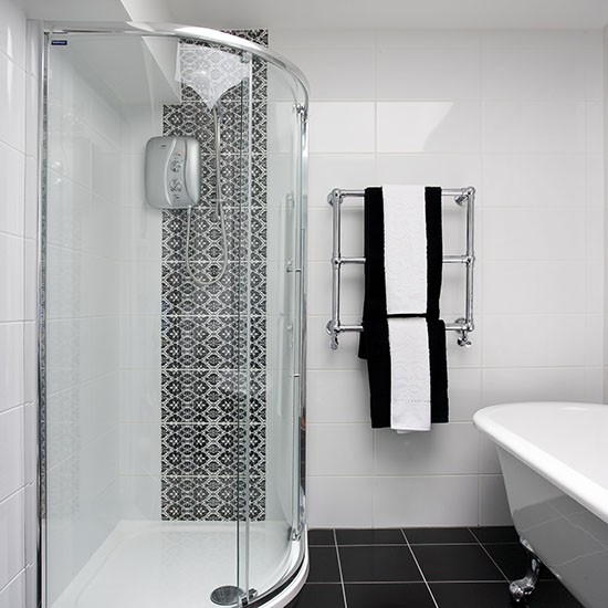 Shower room with chic monochrome tiles shower room ideas for Monochrome bathroom designs