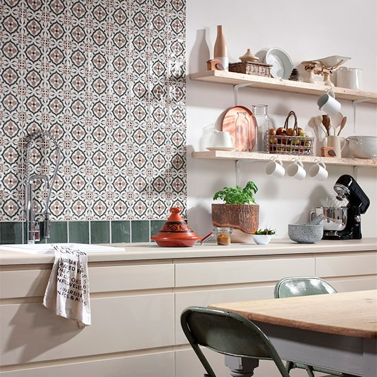 tangier decorative tile splashback from topps tiles kitchen