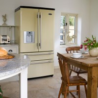 Country-style kitchen with fridge freezer