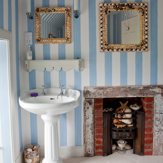 Bathroom With Blue Striped Wallpaper