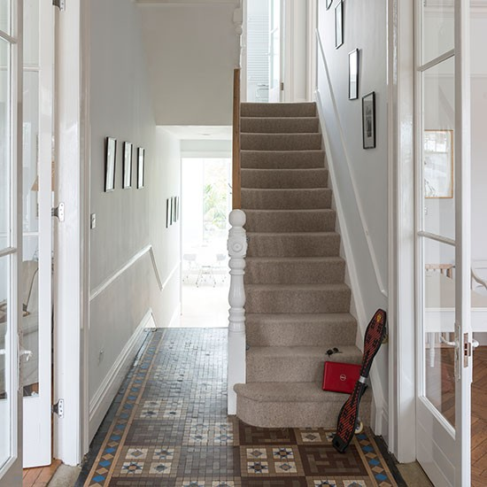 White Hallway With Tiled Floor Decorating
