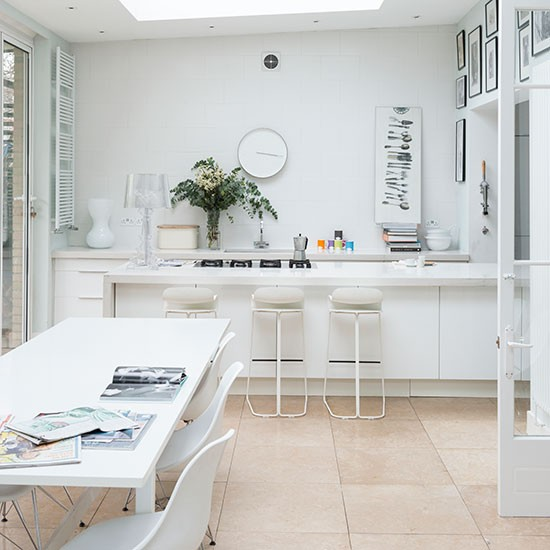 Open Plan Living Room Kitchen Design Ideas: Modern Open-plan White Kitchen