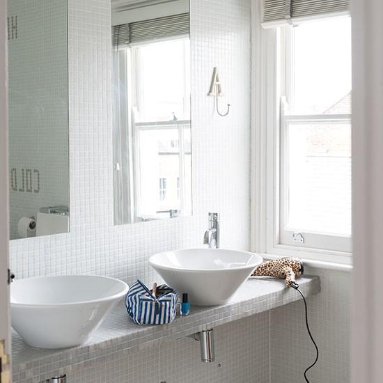 White Bathroom With Mosaic Tiles Bathroom Decorating