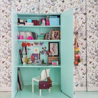 Home office with butterfly wallpaper