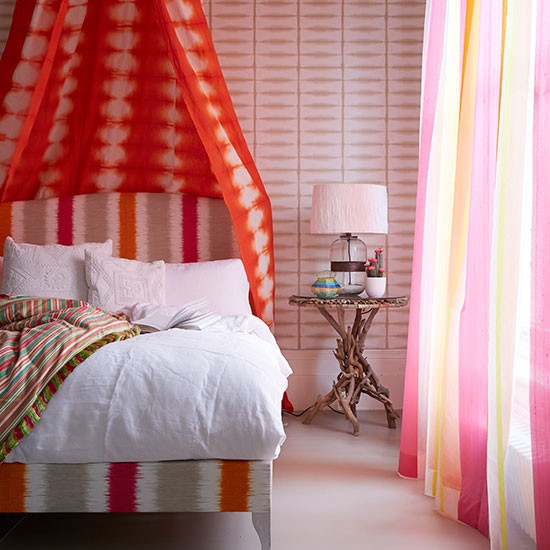 Orange And Pink Striped Bedroom