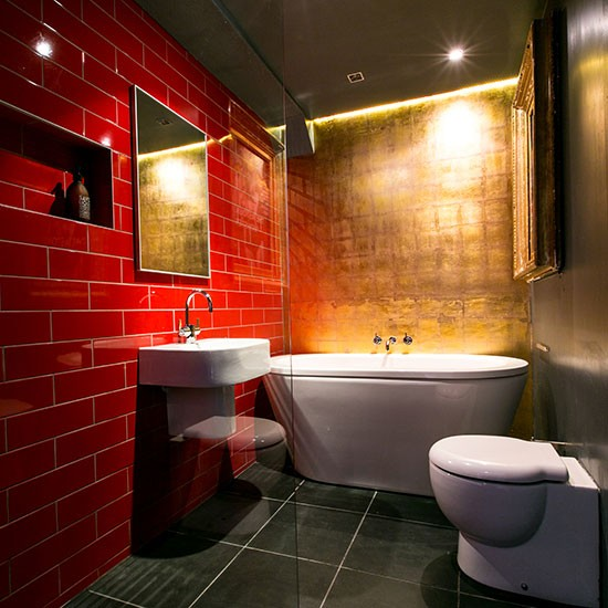 Dramatic red and gold bathroom modern bathroom design for Bathroom designs red