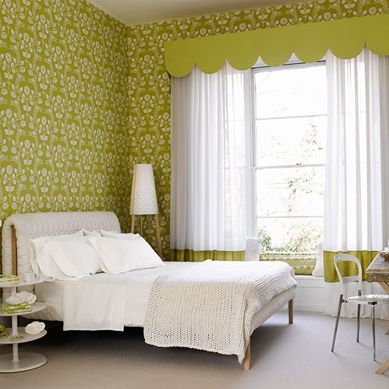 green bedroom with modern floral wallpaper colourful bedroom ideas