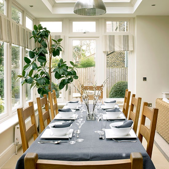 Traditional cream dining room extension dining room for Dining room extension ideas