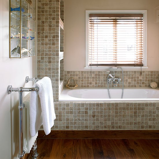 cream bathroom with neutral mosaic tiles bathroom