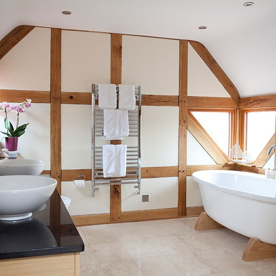 Neutral bathroom with modern roll-top bath | Bathroom decorating ...