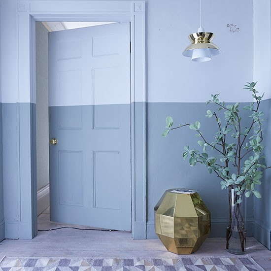 Hallway with bold blue painted stripe | Hallway decorating | Livingetc | Housetohome.co.uk