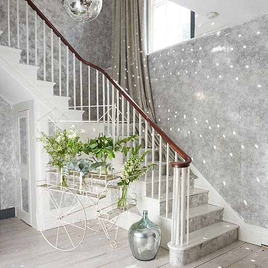 Grey sparkly hallway with silver accents hallway for Hallway wallpaper ideas