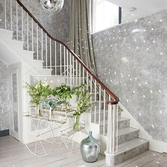 Grey Sparkly Hallway With Silver Accents Hallway