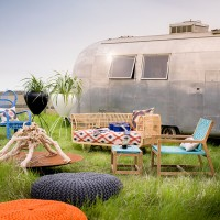Bohemian garden with Airstream caravan