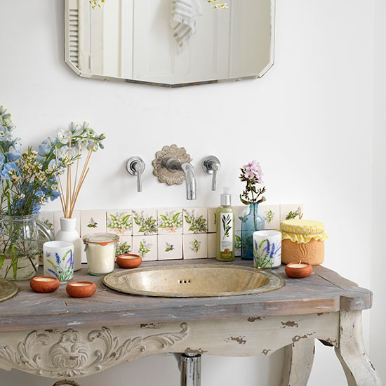 country bathroom with vintage wash stand bathroom