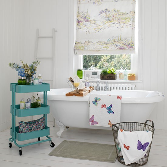 White bathroom with cladding and butterfly towels | Bathroom decorating | Country Homes & Interiors | Housetohome.co.uk