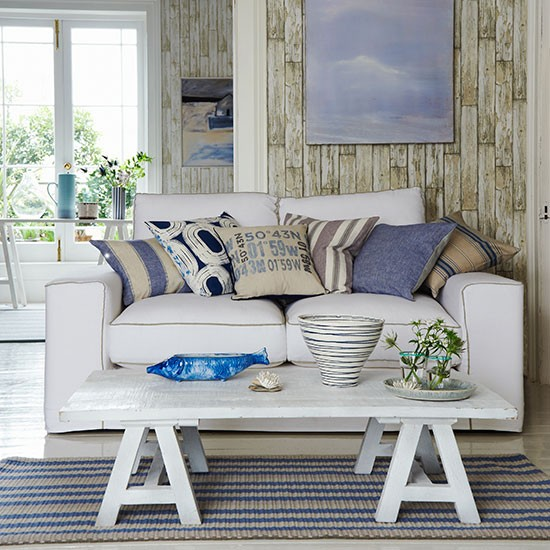 living room with blue and white accents living room decorating