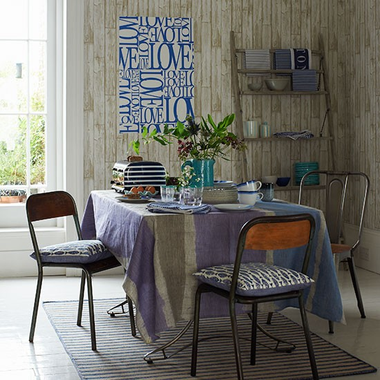 Dining Room With Wood Effect Wallpaper Dining Room Decorating