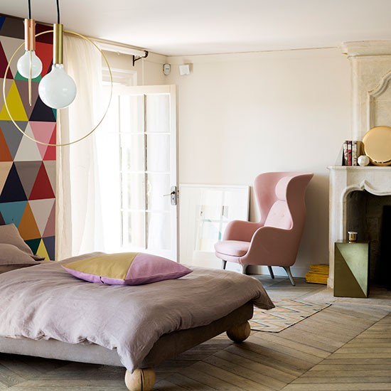 Modern Pastel Bedroom With Geometric Feature Wall Bedroom Decorating