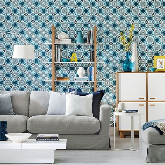 Living room with patterned wallpaper living room Grey wallpaper living room