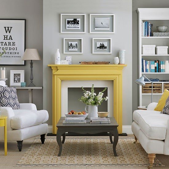 Pale Grey Living Room With Yellow Fireplace Living Room Decorating Houset