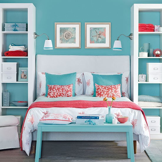 Blue bedroom with pink coral accents bedroom decorating for Blue and peach bedroom ideas